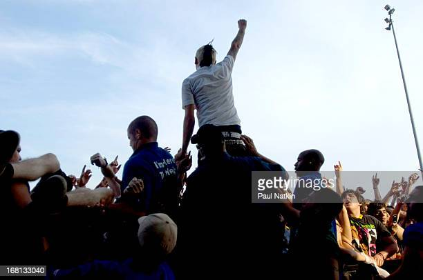 American rock musician Chris Barker with the group AntiFlag on stage at the First Midwest Bank Amphitheatre during the 2006 Vans Warped Tour Tinley...