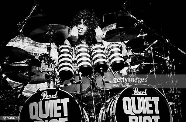 American Rock musician Frankie Banali of the band Quiet Riot performs onstage Des Moines Iowa August 20 1984