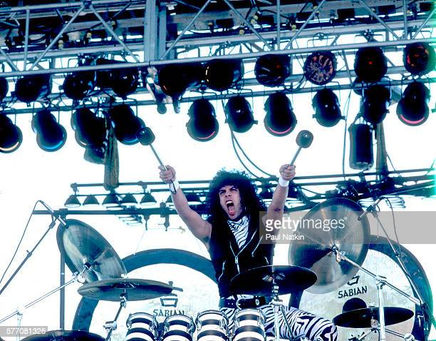 American Rock musician Frankie Banali of the band Quiet Riot performs onstage Kalamazoo Michigan May 27 1984