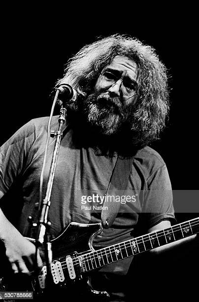 American Rock musician Jerry Garcia of the group Grateful Dead performs onstage at the Uptown Theater Chicago Illinois February 28 1981