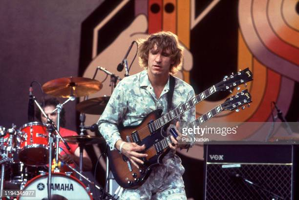 American Rock musician Joe Walsh plays guitar as he performs onstage at the US Festival, Ontario, California, May 30, 1983.