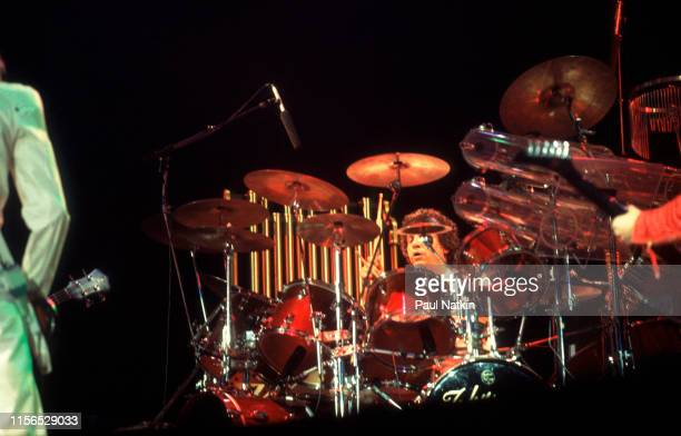 American Rock musician John Panazzo of the group Styx plays drums as he performs onstage at the Rosemont Horizon Rosemont Illinois March 9 1981