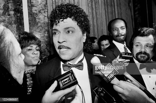 American Rock musician Little Richard is interviewed during the Third Annual Rock and Roll Hall of Fame Awards ceremony at the Waldorf Astoria Hotel,...