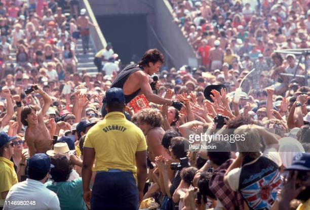American Rock musician Rick Springfield performs from among the audience during the US Festival, Ontario, California, May 30, 1983.