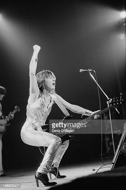American rock musician Suzi Quatro performing at the Hammersmith Odeon London October 1978