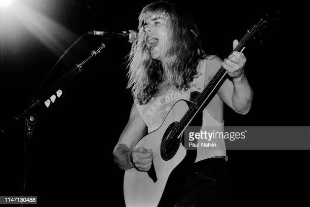American Rock musician Tommy Shaw plays guitar as he performs onstage at the Rosemont Horizon Rosemont Illinois February 25 1988