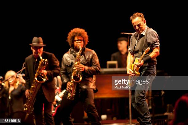 American rock musicians Ed Manion Jake Clemons and Bruce Springsteen perform on stage with the E Street Band during the 'Wrecking Ball' tour at...