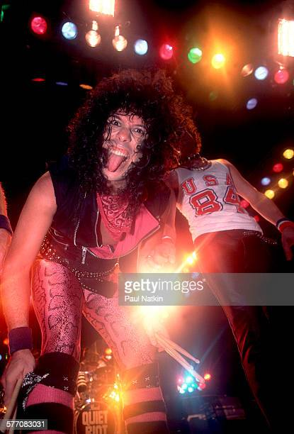 American Rock musicians Frankie Banali and Kevin DuBrow both of the band Quiet Riot perform onstage Des Moines Iowa August 20 1984