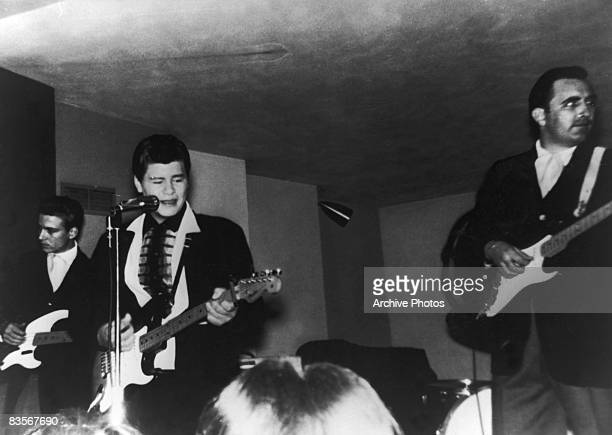 American rock 'n' roll singer Ritchie Valens in concert, 1950s.