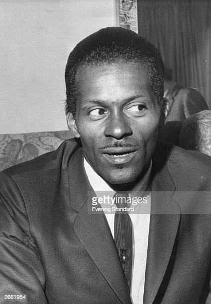 American rock 'n' roll singer songwriter and guitarist Charles 'Chuck' Berry one of the biggest influences on preBeatles pop