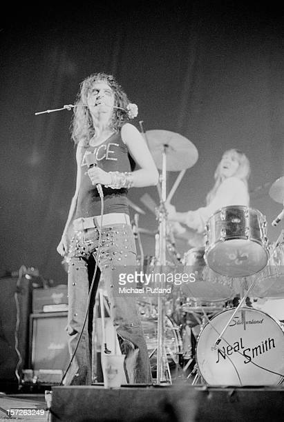 American rock singer Alice Cooper on stage at the Empire Pool Wembley London 30th June 1972