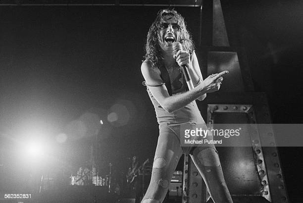 American rock singer Alice Cooper performing on his Welcome To My Nightmare tour at the Empire Pool Wembley London 11th September 1975