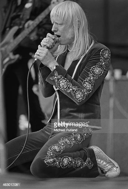American rock singer and musician Edgar Winter performing at the White City Festival, White City Stadium, London, 15th July 1973.