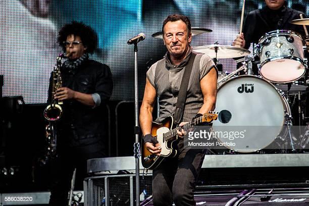 American rock singer Bruce Springsteen in concert at San Siro Stadium Beside him American saxophonist Jake Clemons The River Tour Milan 3rd July 2016