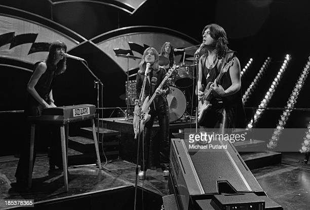 American rock singer Suzi Quatro and her group miming to their single 'Daytona Demon' on the BBC TV music show 'Top Of The Pops' London 8th November...