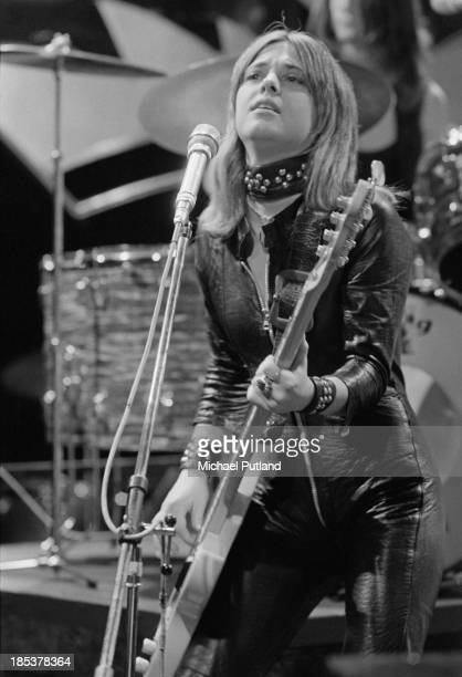 American rock singer Suzi Quatro miming to the her single 'Daytona Demon' on the BBC TV music show 'Top Of The Pops' London 8th November 1973