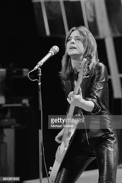 American rock singer Suzi Quatro performing on the Christmas Day edition of the BBC TV music show 'Top Of The Pops' broadcast 25th December 1973