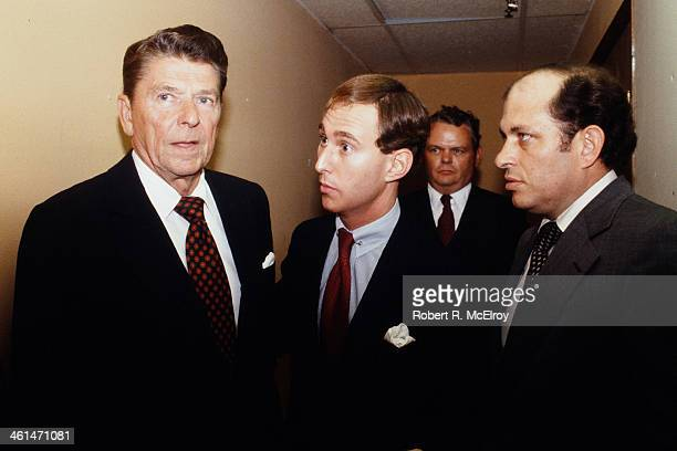 American Ronald Reagan and Roger Stone at the Chrysler Plant Detroit Michigan September 20 1980