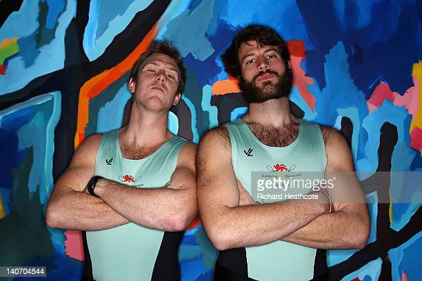 American rowers Jack Lindeman and Steve Dudek of Cambridge pose for a picture during the 2012 Xchanging University Boat Race WeighIn and Crew...