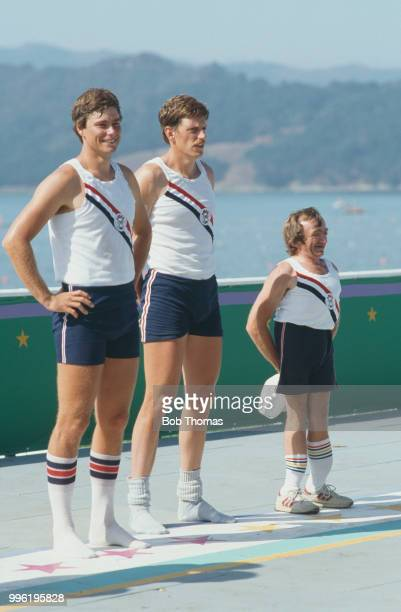 American rowers Kevin Still and Robert Espeseth with cox Doug Herland of the United States team pictured together after finishing in third place to...