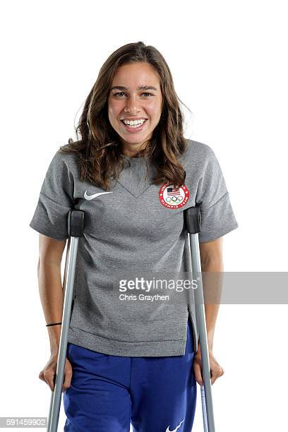 American runner Abbey D'Agostino poses for a portrait on August 17 2016 in Rio de Janeiro Brazil Nikki Hamblin and D'Agostino came last in their...