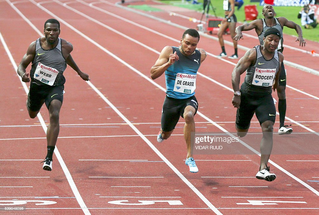 American runner Ameer Weeb, Canada's runner and winner Andre De Grasse, American runner Michael Rodgers and Saint-Kitts-and-Nevis' runner Kim Collins compete in the men's 100 meter race during the 2016 IAAF Oslo Diamond League athletics meeting at the Bislett Stadium in Oslo, on June 9, 2016. / AFP / NTB Scanpix / Vidar Ruud / Norway OUT