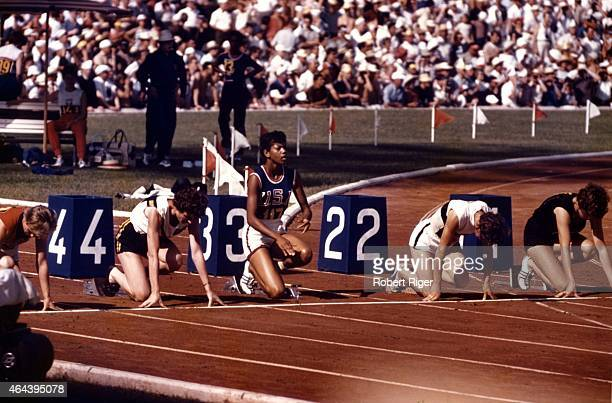 American runner Wilma Rudolph gets ready in the block as she attemps to win the Women's 100m sprint at the 1960 Summer Olympic Games on September 2,...