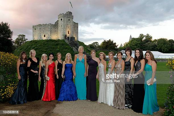 American Ryder Cup Team wives and partners as they attend the 2010 Ryder Cup Dinner at Cardiff Castle on September 29 2010 in Cardiff Wales