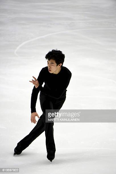 American' s figure skating winner Nathan Chen performs during the men's free skating at the Finlandia Trophy competition in Espoo, Finland, on...