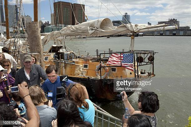 American sailor Reid Stowe addresses the crowd of well whishers and the media after returning from 1152 days at sea at the helm of his handbuilt...