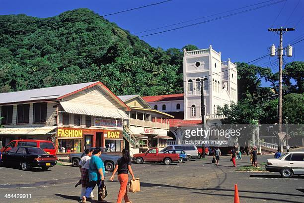 American Samoa Tutuila Downtown Pago Pago Stores Church And Parking Lot