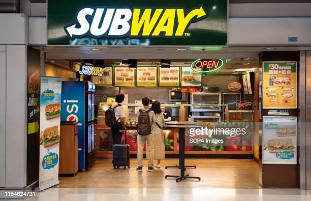 American sandwich fast food restaurant franchise Subway store seen in Hong Kong.