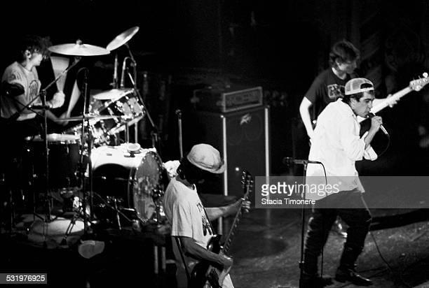 American satirical punk rock band The Dead Milkmen perform on stage at Cabaret Metro on March 3 1989 in Chicago Illinois USA Left to right Dean Clean...