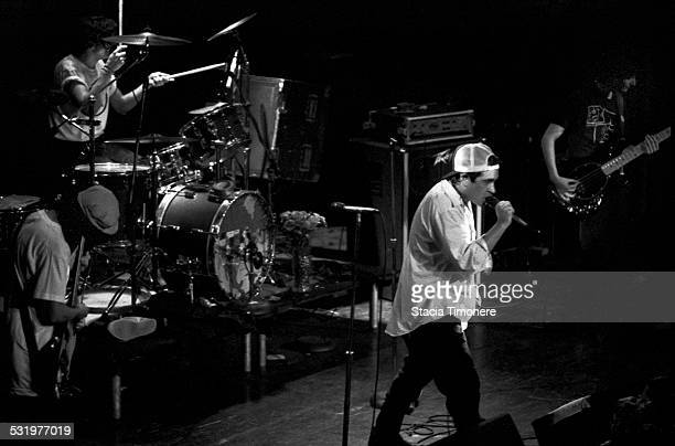 American satirical punk rock band The Dead Milkmen perform on stage at Cabaret Metro on March 3 1989 in Chicago Illinois USA Left to right Joe Jack...