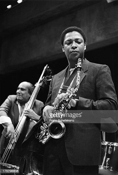 American sax player Vincent Herring performs with bass player Walter Booker at the BIM Huis in Amsterdam, Netherlands on 26th March 1989.