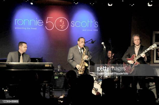 American saxophone player Lou Donaldson performs live on stage with his quartet including Randy Johnston on guitar and Fukushi Tainaka on drums at...