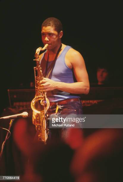 American saxophonist Branford Marsalis performs live on stage with Sting at the Ritz Club in New York in February 1985 Sting and his band played...