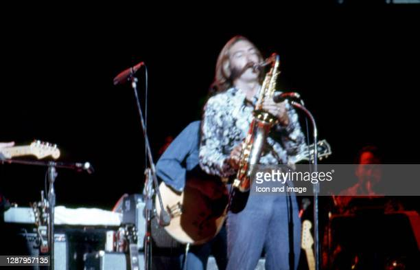 American saxophonist, woodwind player, and session musician Jim Horn playing during former Beatle George Harrison's Concert For Bangladesh on August...