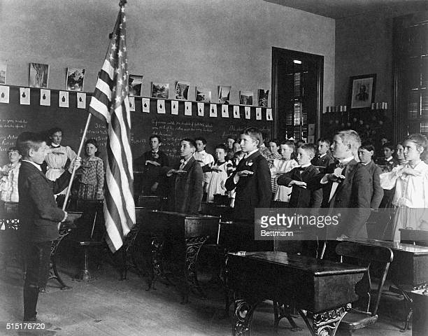 American school class during Oath of Allegiance Photograph 1900