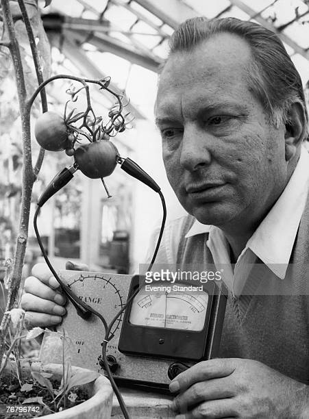 American science fiction writer L. Ron Hubbard , founder of the Church of Scientology, uses his Hubbard Electrometer to determine whether tomatoes...