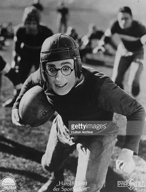 American screen actor Harold Lloyd in a scene from 'The Freshman' released in Germany as 'Der Sportstudent'
