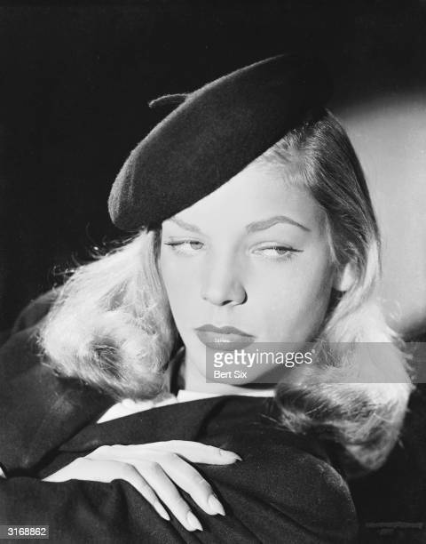 American screen star Lauren Bacall, who was spotted by Howard Hawks' wife Slim posing for the cover of Harper's Bazaar.