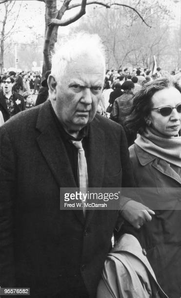 American sculptor Alexander Calder and his wife Louisa an antiVietnam War demonstration in Central Park New York New York April 15 1967