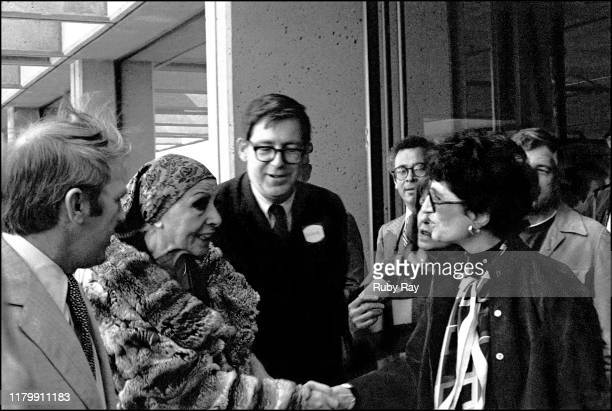 American sculptor Louise Nevelson meets various San Francisco dignitaries and a large crowd of admirers at the inauguration of her sculpture SKY TREE...