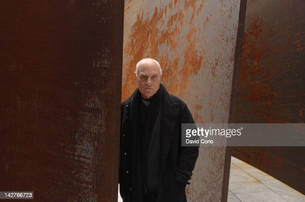 American sculptor Richard Serra at Museum Of Modern Art Sculpture Garden in New York with one of his sculptures on 17th April 2007.