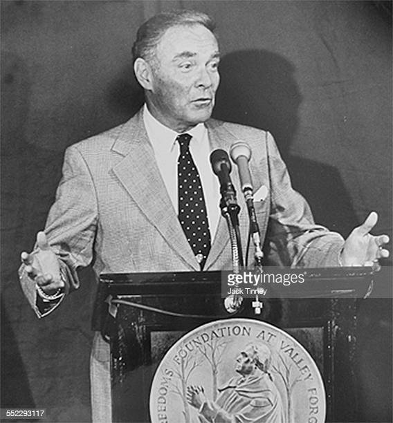 American Secretary of State Alexander Haig speaks from a lecturn as he accepts Freedoms Foundation's American Patriot Award Valley Forge Pennsylvania...