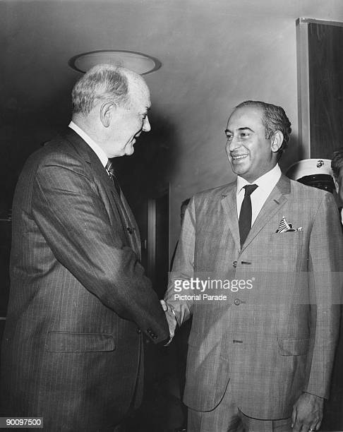 American Secretary of State Dean Rusk with Foreign Minister of Pakistan Zulfikar Ali Bhutto at the US Mission to the United Nations New York circa...