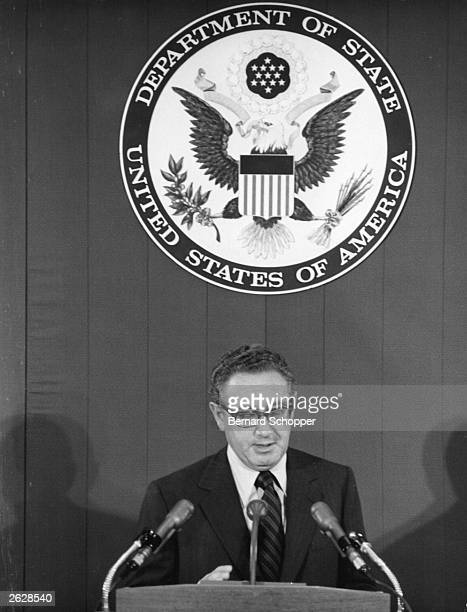American Secretary of State Henry Kissinger giving a press conference in the State Department Washington Original Publication People Disc HG0072