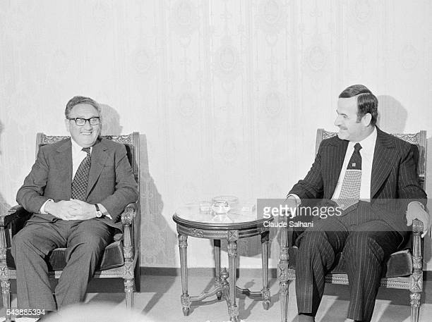 American Secretary of State Henry Kissinger meets President of Syria Hafez El Assad in Damas