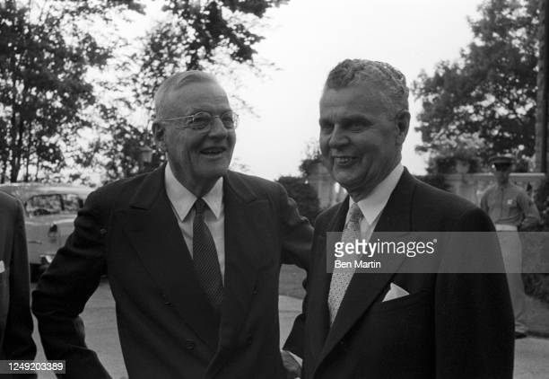 American Secretary of State John Foster Dulles and Canadian Prime Minister John Diefenbaker meet in Ottawa, Canada, July, 1957.